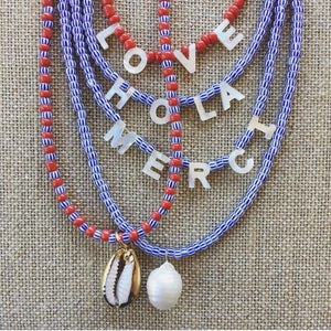 TenThings. LOVE. Mother-of-Pearl. Word. Necklace. N-REDLOVE
