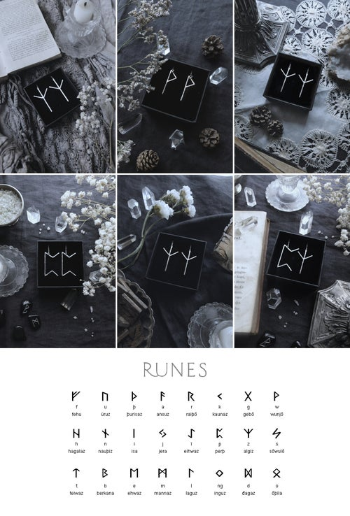 Image of VÖRDR. RUNE EARRINGS ↟ sterling silver - any runes: Algiz, Othala, Ansuz, Fehu, Dagaz, Thurisaz..