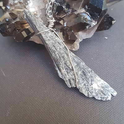 Image of Black Kyanite Wire-Wrapped Necklace
