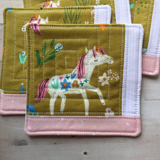 Image of Floral Unicorn Scrappy Quilted Coaster