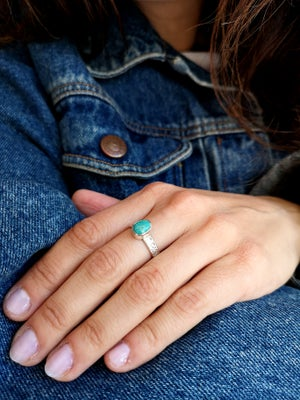 Image of Bague turquoise du Tibet - taille 56,5- ref. 5791