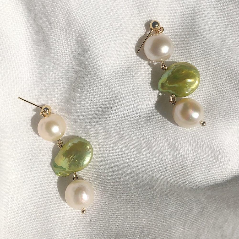 Image of Pistachio Pearl Earrings
