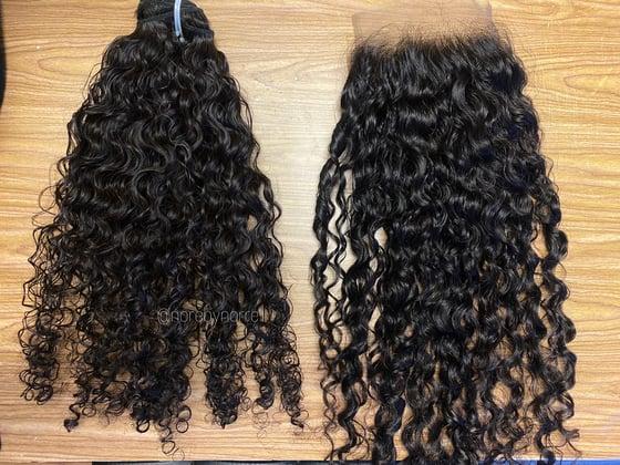 Image of Curly Burmese lace closure w/ 2 bundles