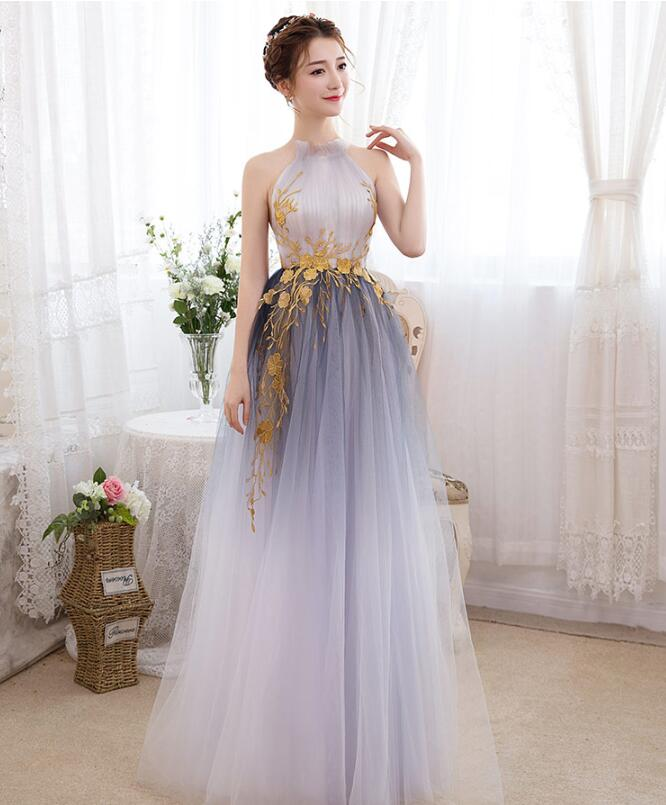 Unique Gradient Tulle Halter Long Party Dress, Tulle Prom Dress