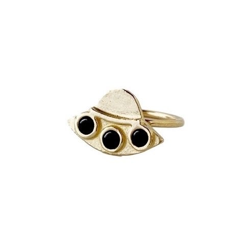 Image of UFO Ring with Black Onyx