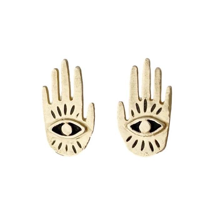 Image of Small Hand Eye Earrings