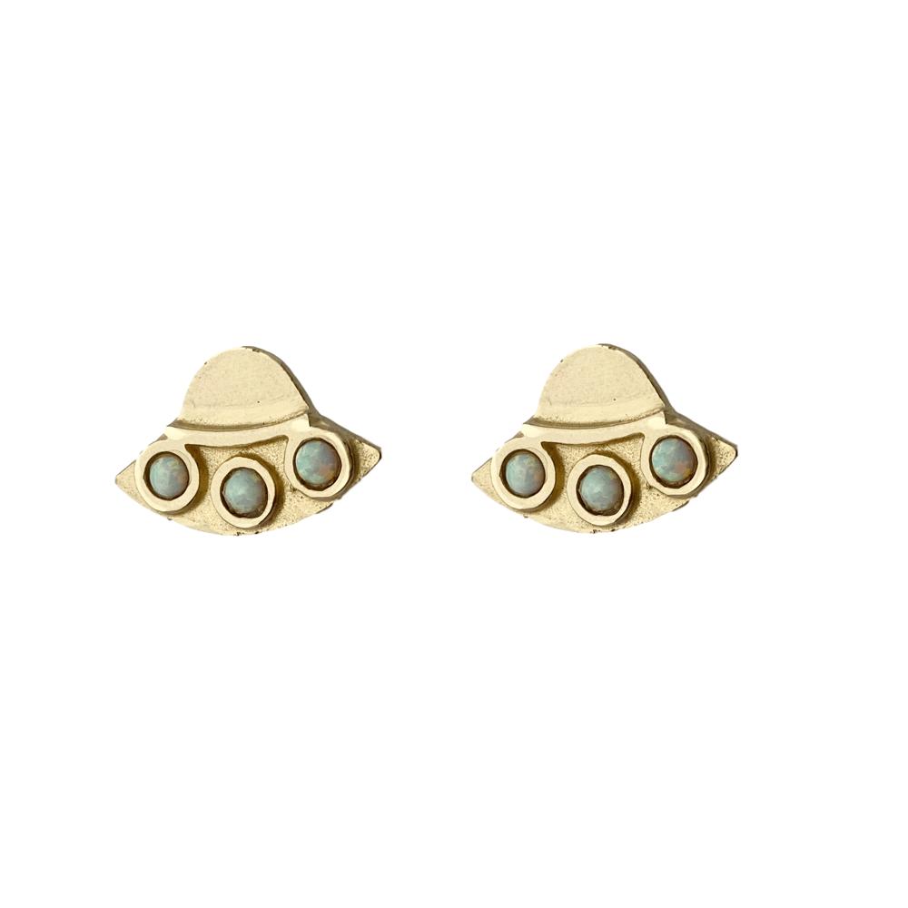 Image of UFO Earrings with Opal