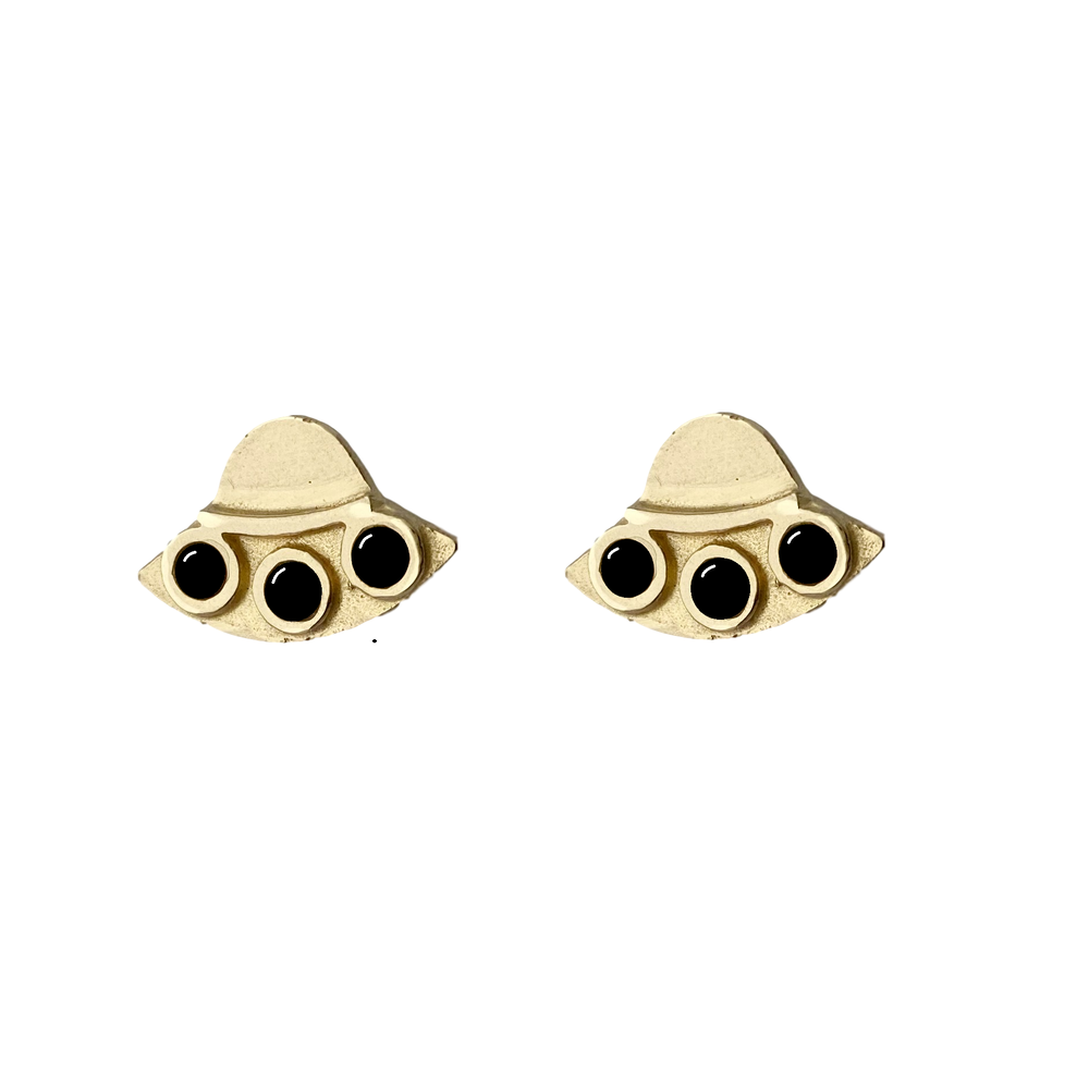 Image of UFO Earrings with Black Onyx