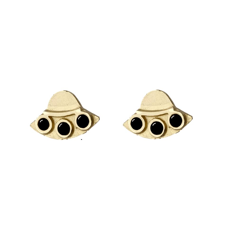 Image of UFO Earrings with Black Onyx