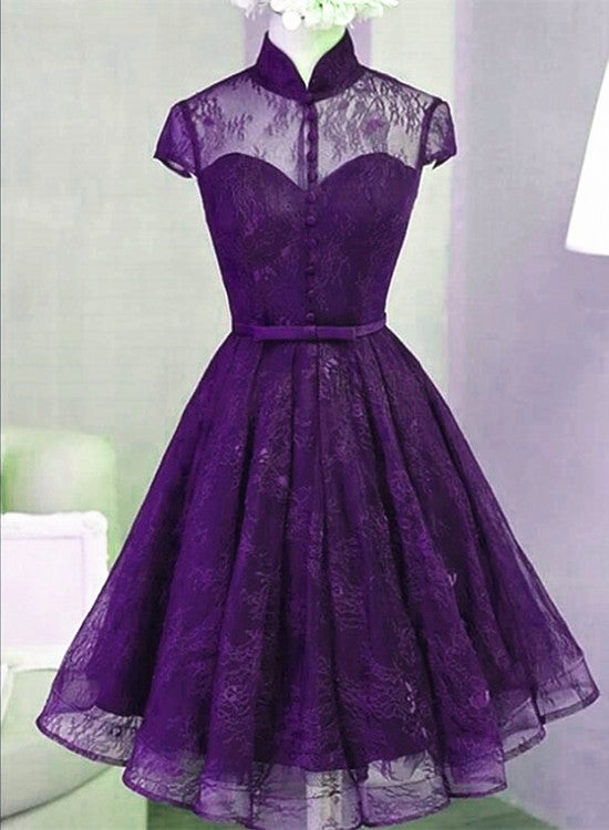 Lovely Purple Lace Short PartY Dress, Short Homecoming Dress