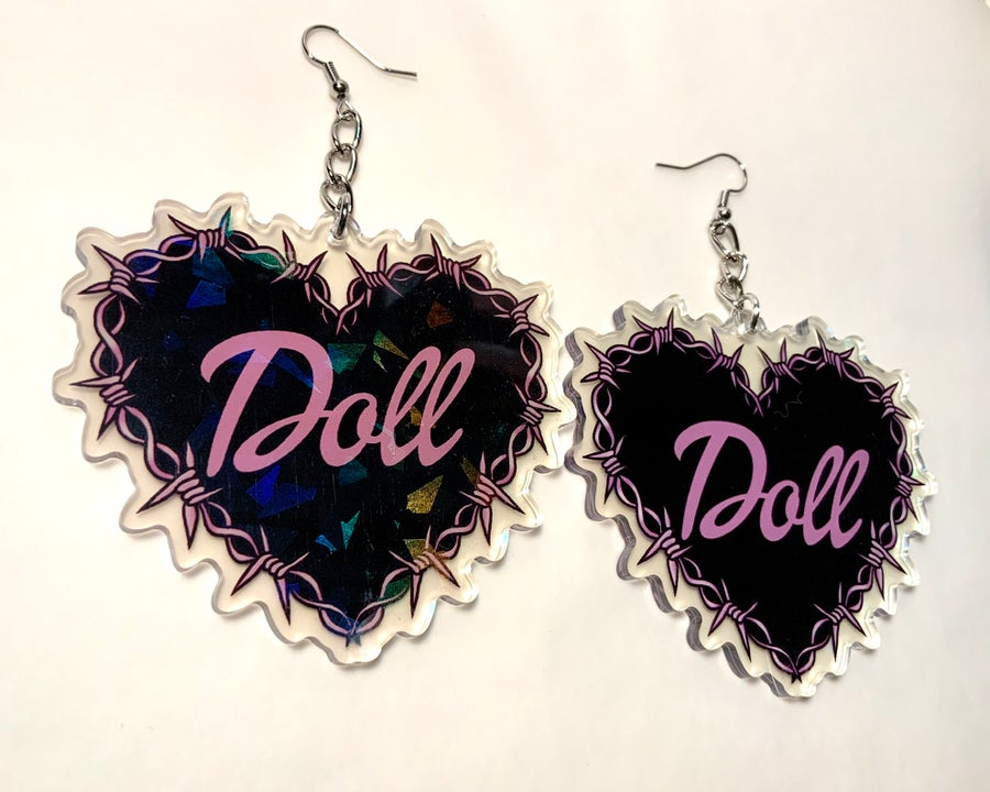 Image of Doll Barbed Wire Heart Earrings