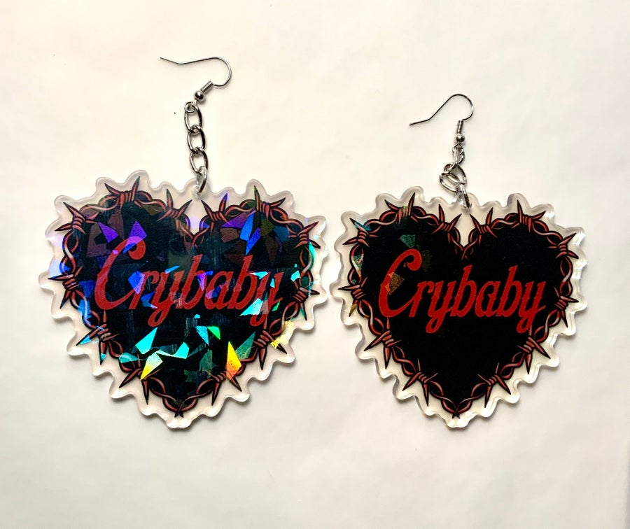 Image of Crybaby Barbed Wire Heart Earrings