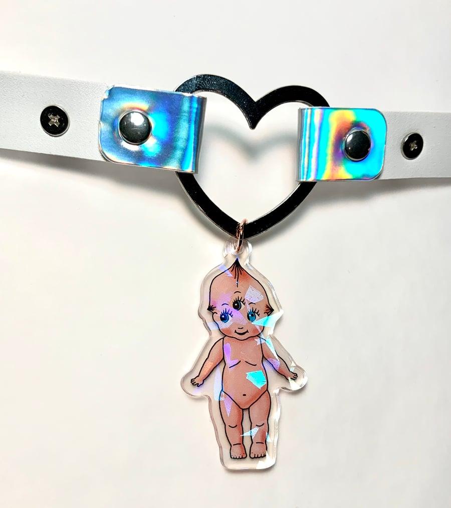 Image of Kewpie Baby Heart Ring Choker