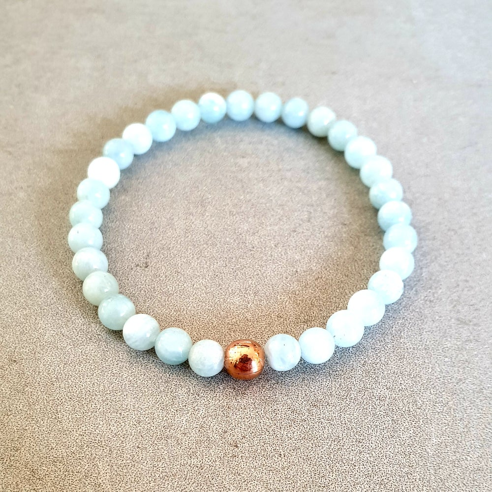 Image of AQUAMARINE & COPPER BRACELET - 6mm, 8mm & 10mm bead sizes