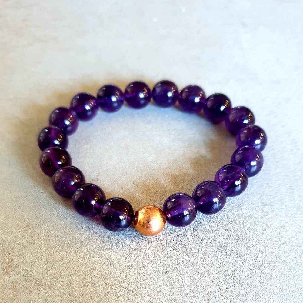 Image of AMETHYST & COPPER BRACELET - 6mm, 8mm & 10mm bead sizes