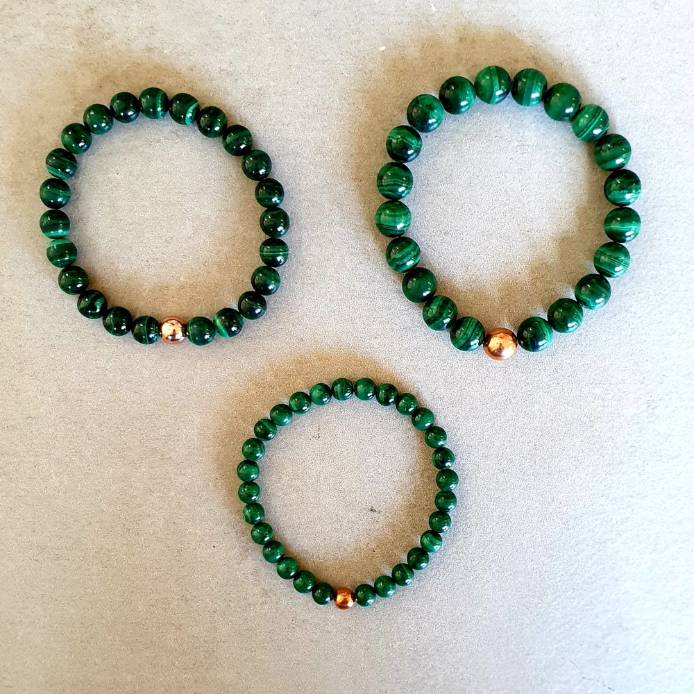 Image of MALACHITE & COPPER BRACELET - Sizes 6mm, 8mm & 10mm bead sizes