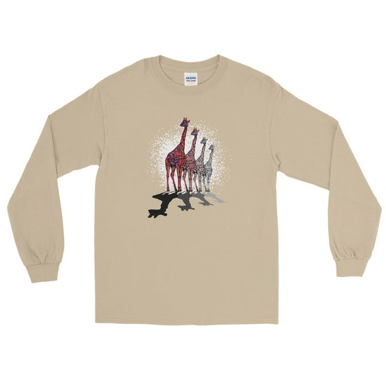 "Image of ""Remember, I'm Here"" - Gildan Mens Long Sleeve Tee Sand"