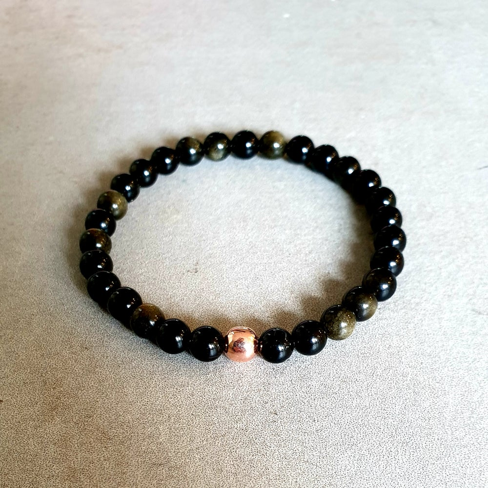 Image of GOLD SHEEN OBSIDIAN & COPPER STRENGTH & PROTECTION BRACELET - Sizes 6mm, 8mm & 10mm