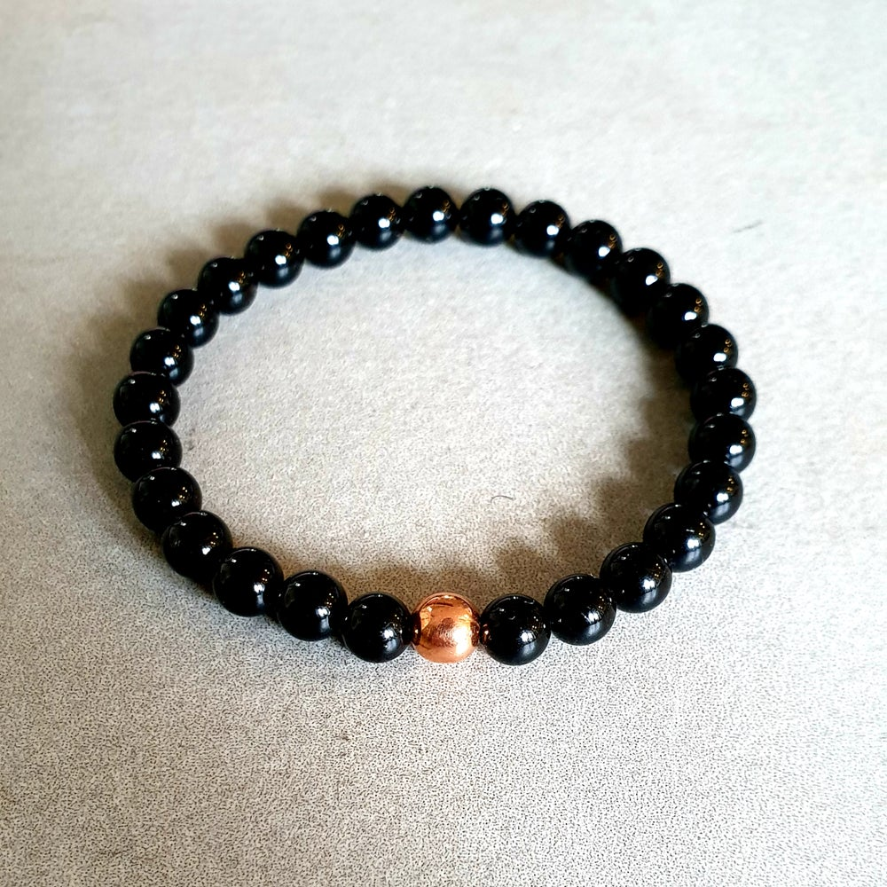 Image of BLACK TOURMALINE & COPPER PROTECTION BRACELET - 6mm, 8mm & 10mm bead sizes