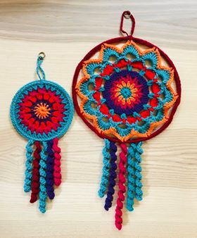 Image of Dream Catcher Yarn Kits which go with the Flower Dream Catcher Pattern available on the Website.