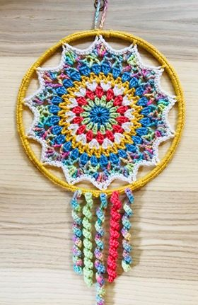 Image of Dream Catcher Hand Dyed Yarn Kit which goes with the Flower Dream Catcher Pattern.