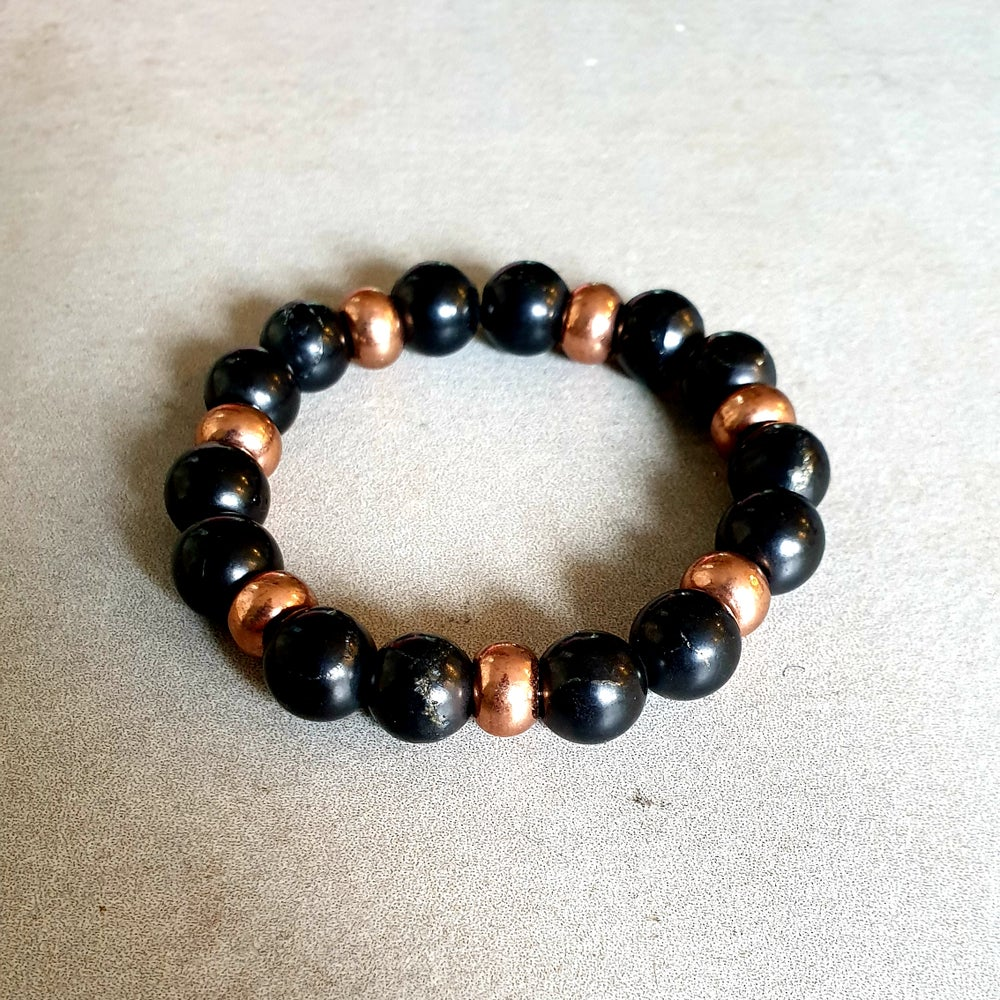 Image of SHUNGITE & COPPER BRACELET - 6mm, 8mm & 10mm bead sizes