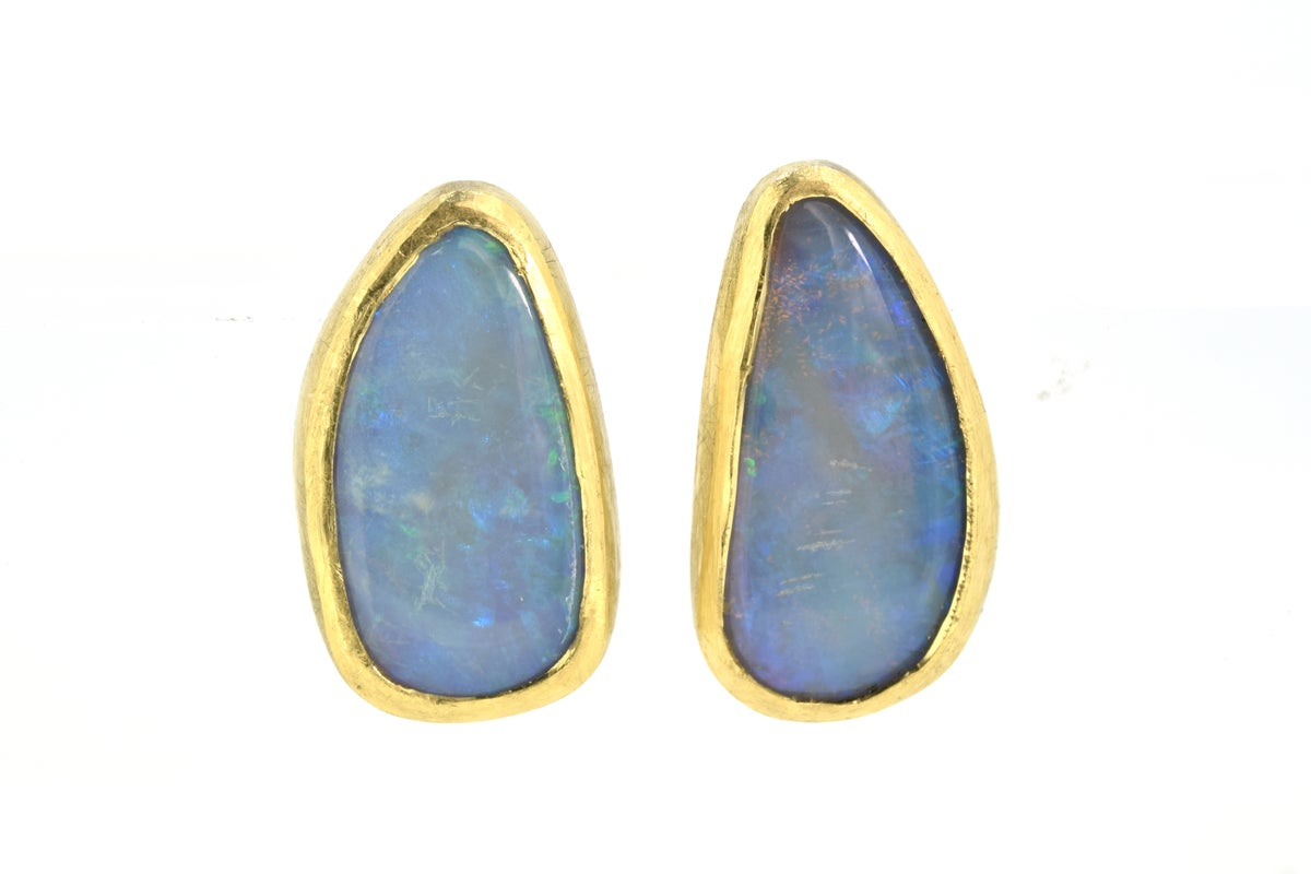 18ct gold studs set with solid natural Australian opal. Chris Boland Contemporary Jewellery