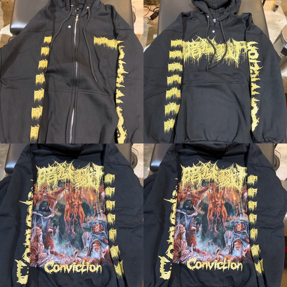 "Image of Officially licensed The Dark Prison Massacre ""Conviction"" cover art pullover and zip up hoodie!"