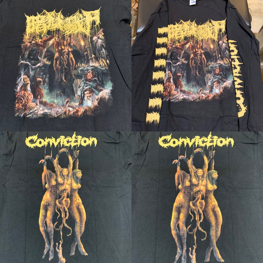 """Image of Officially licensed The Dark Prison Massacre """"Conviction"""" cover art short and long sleeve shirts"""