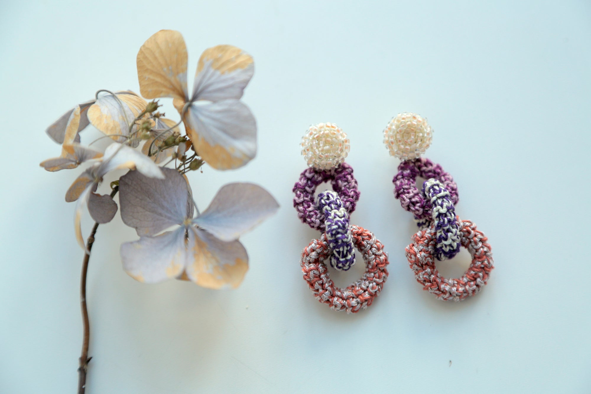 Image of Yellow and Purple Bonded Together Earrings