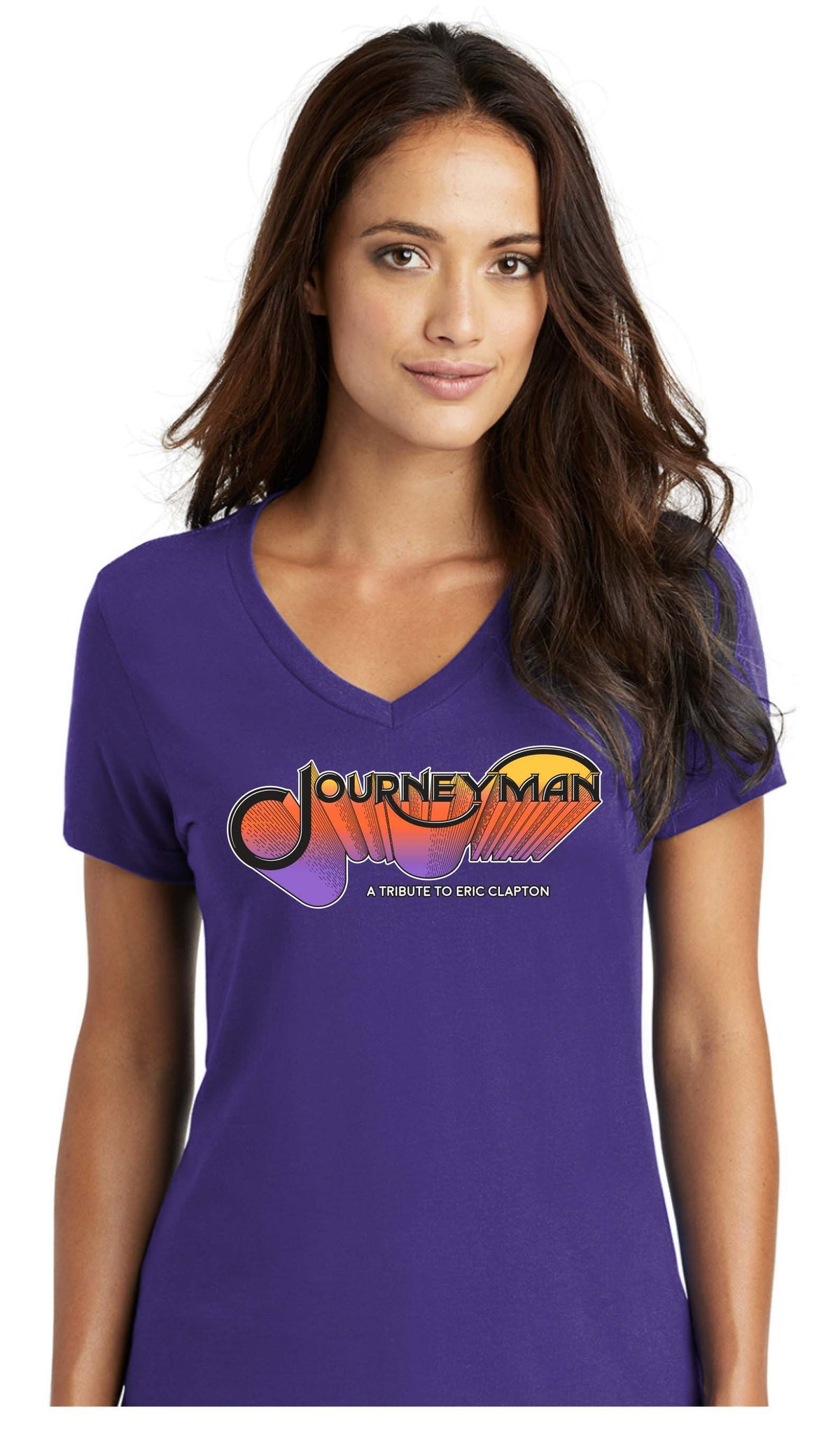 Journeyman V-Neck Ladies Tee - Purple