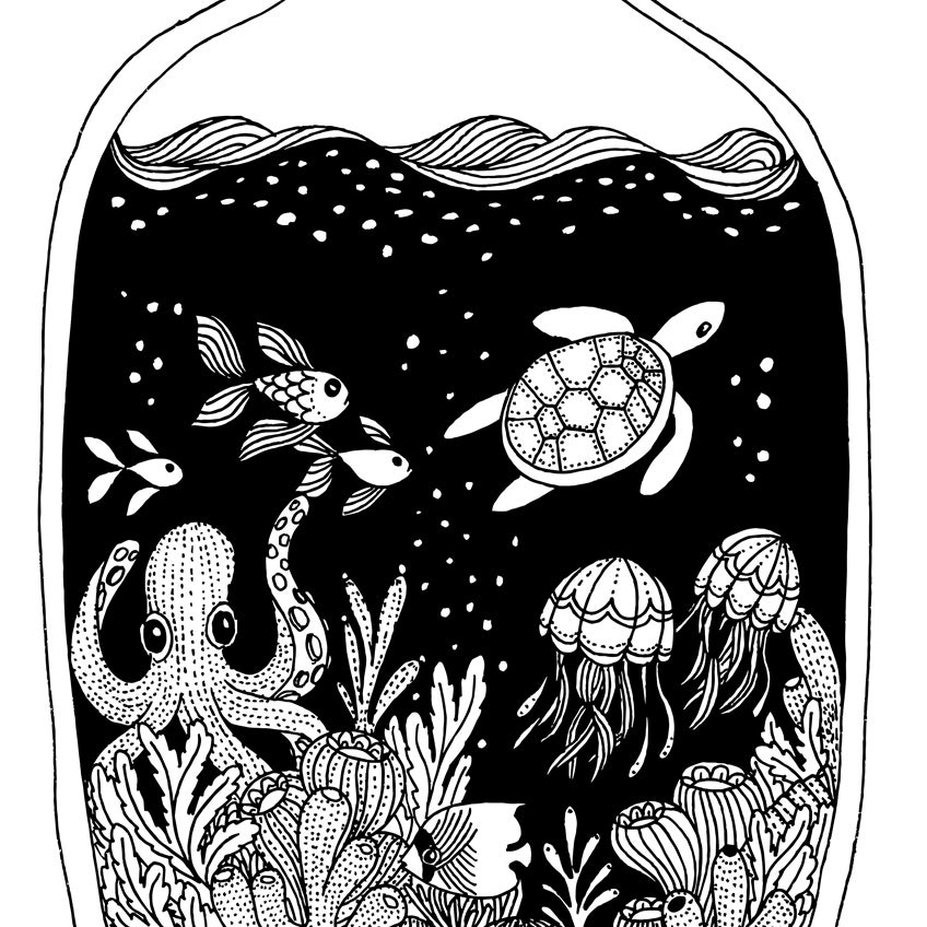 Image of Print: Sea in a bottle