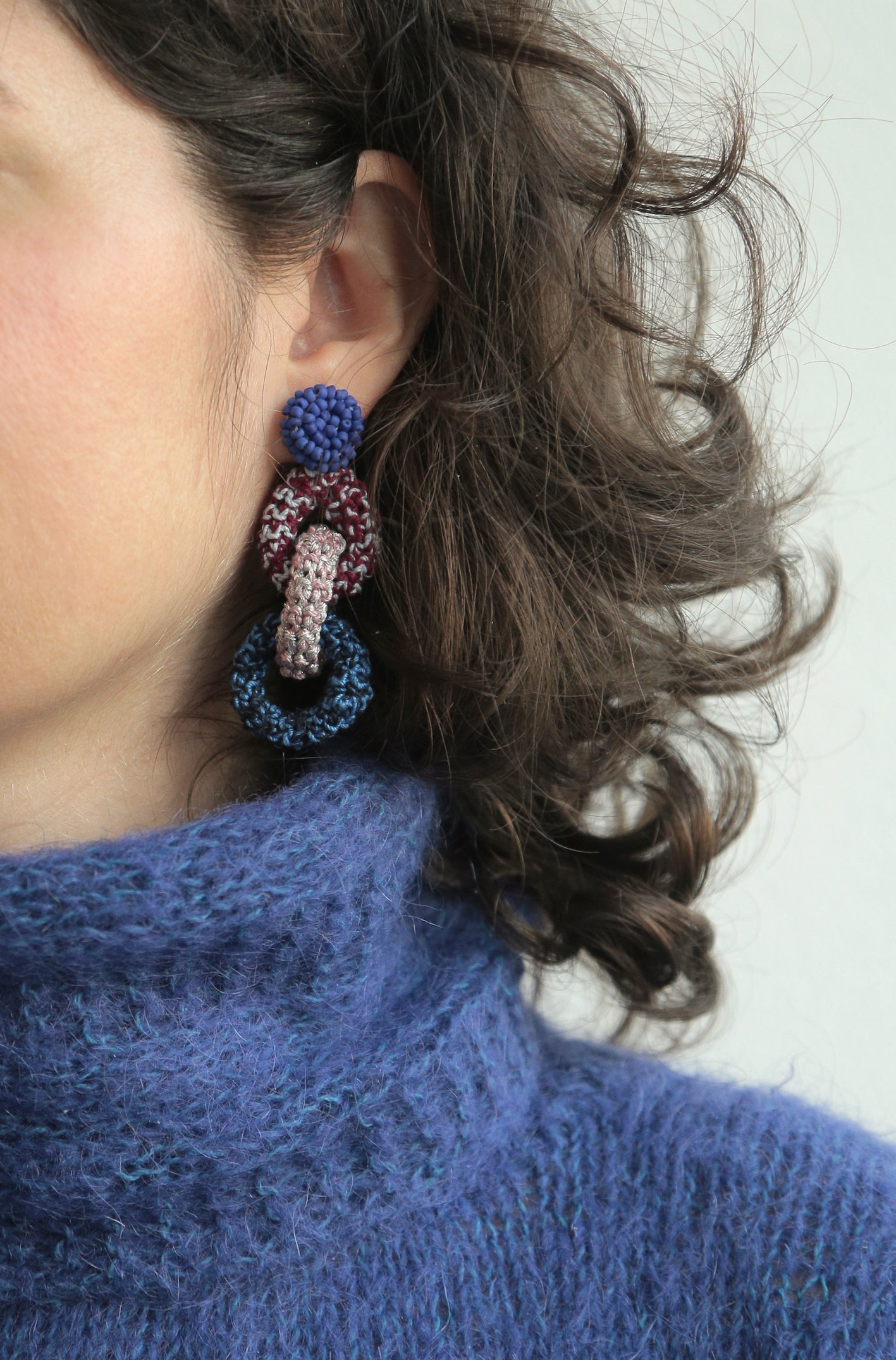 Image of Glowing Blue Bonded Together earrings