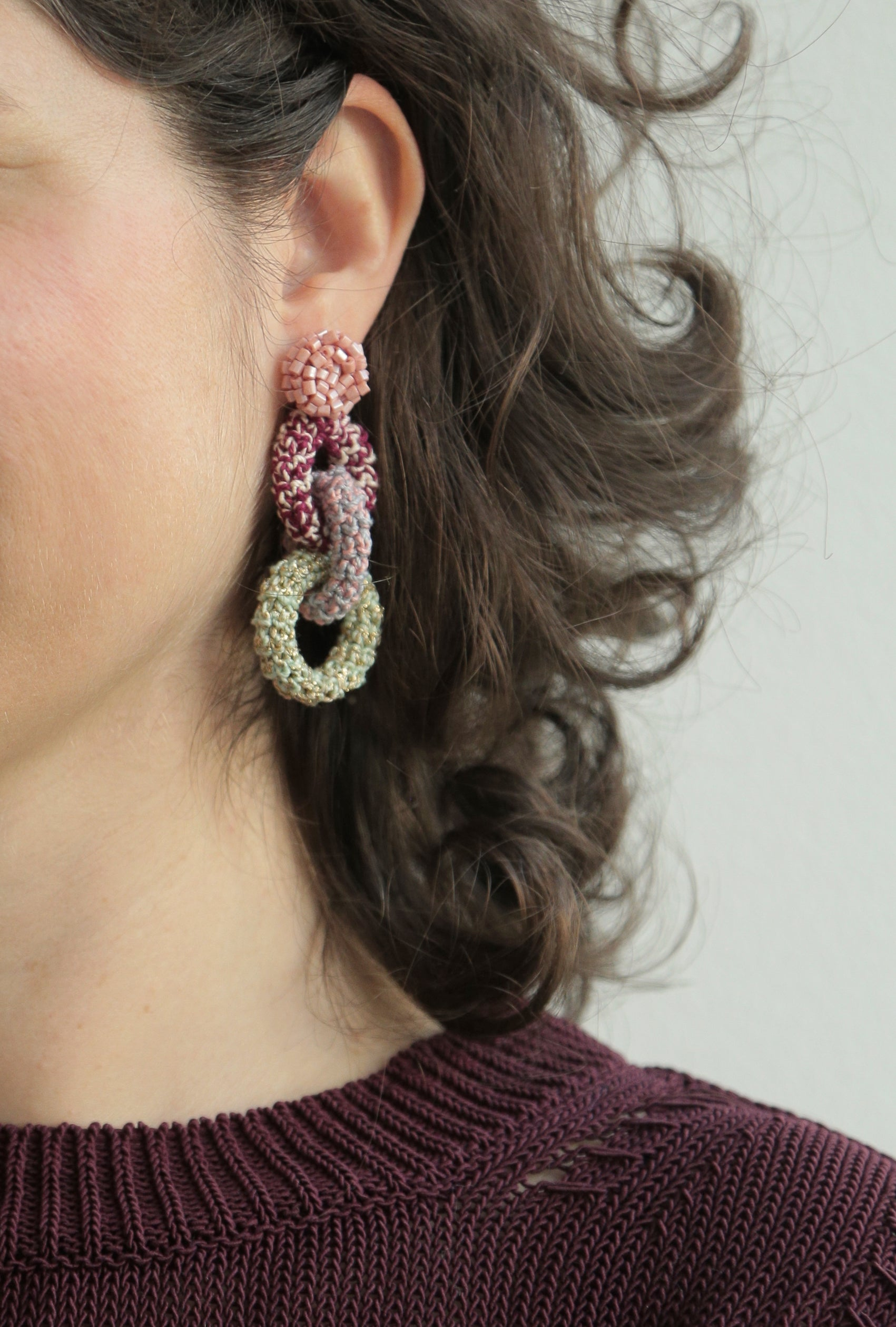 Image of Pink, Burgundy and Pistachio Bonded Together Earrings