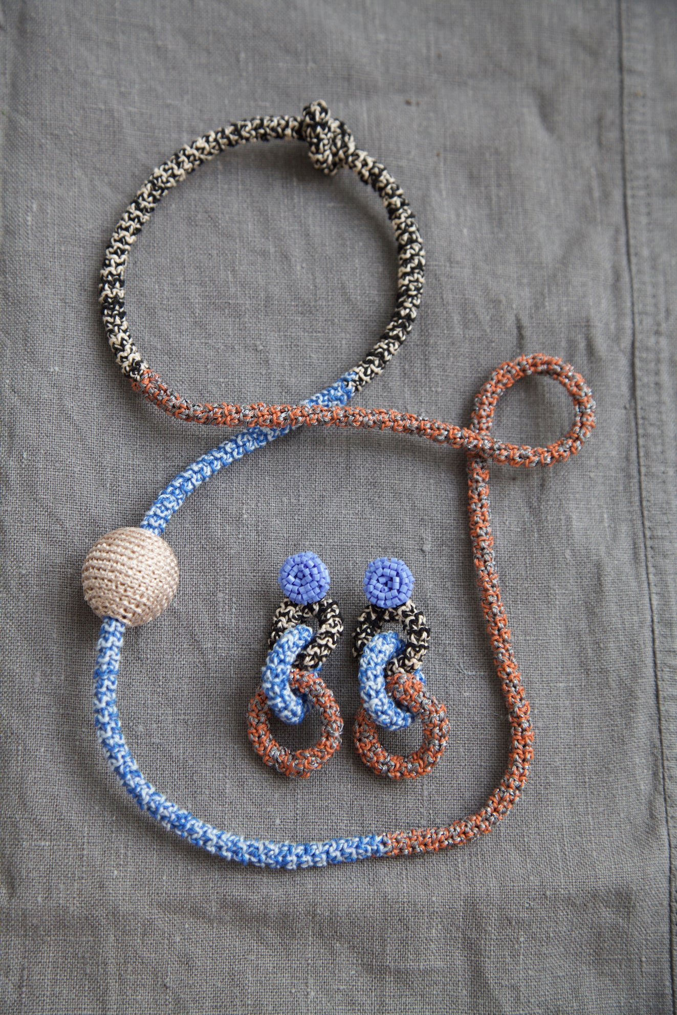 Image of Cornflower and Rust Snake necklace