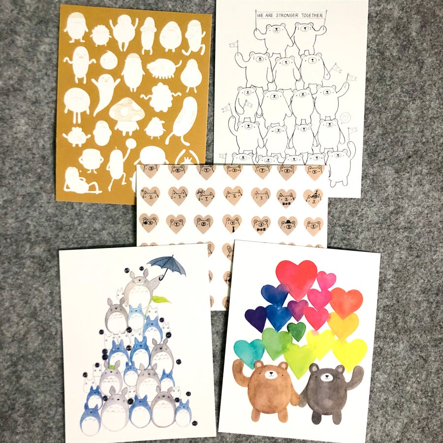 Image of happy mail postcard bundle