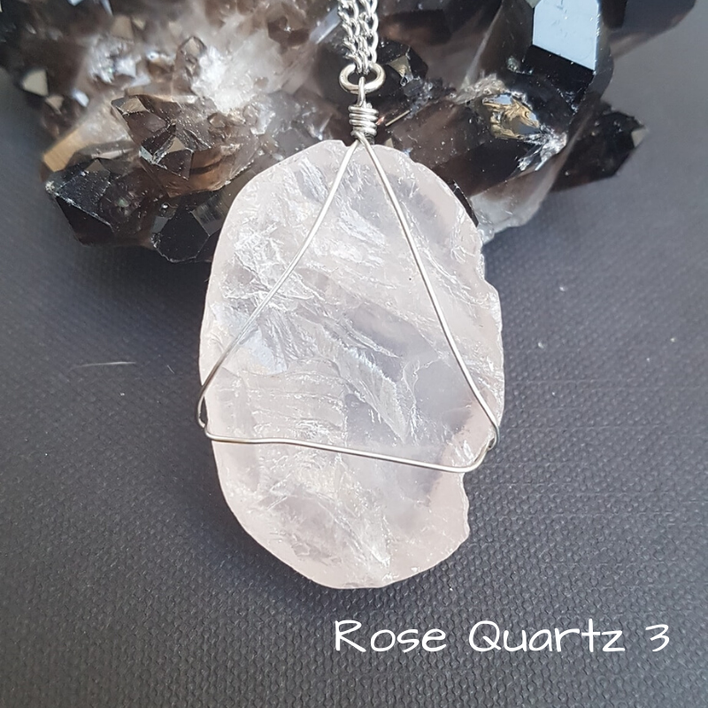Image of Rose Quartz Wire-Wrapped Necklace