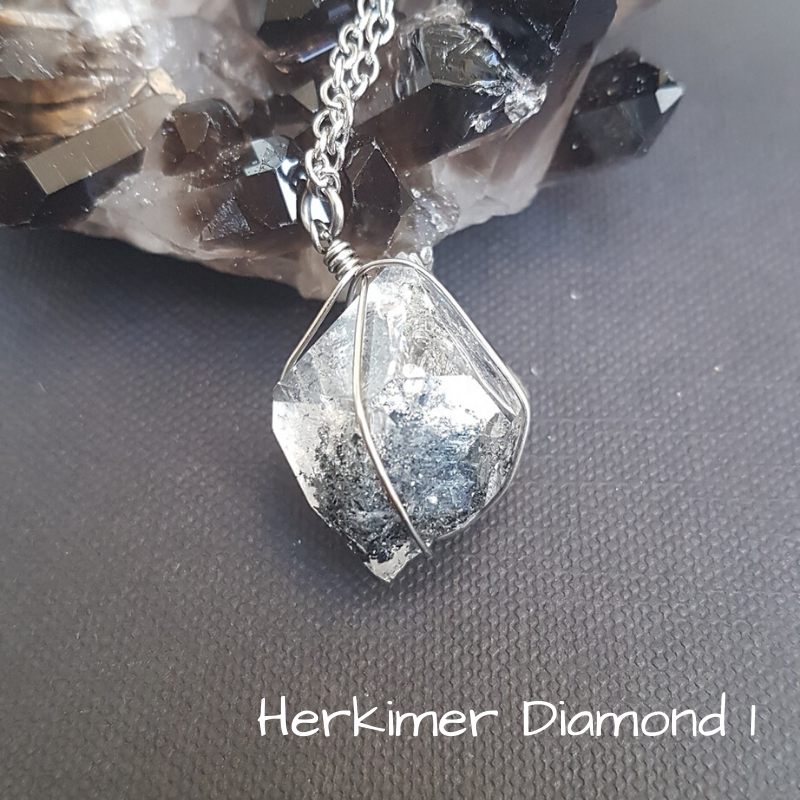 Image of Herkimer Diamond Wire-Wrapped Necklace