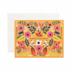 Image of CARTE DOUBLE HAPPY BIRTHDAY FLEURS (CINQ MODÈLES), RIFLE PAPER CO.