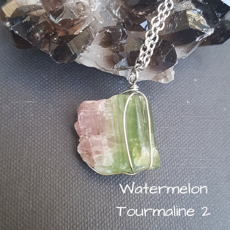 Image of Watermelon Tourmaline Wire-Wrapped Necklace