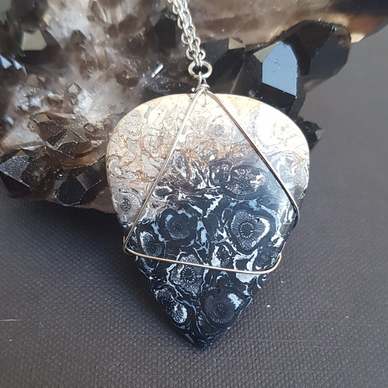 Image of Petrified Palm Wood Wire-Wrapped Necklace