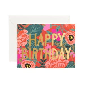 Image of CARTE DOUBLE HAPPY BIRTHDAY BLOOM (DEUX MODÈLES), RIFLE PAPER CO.