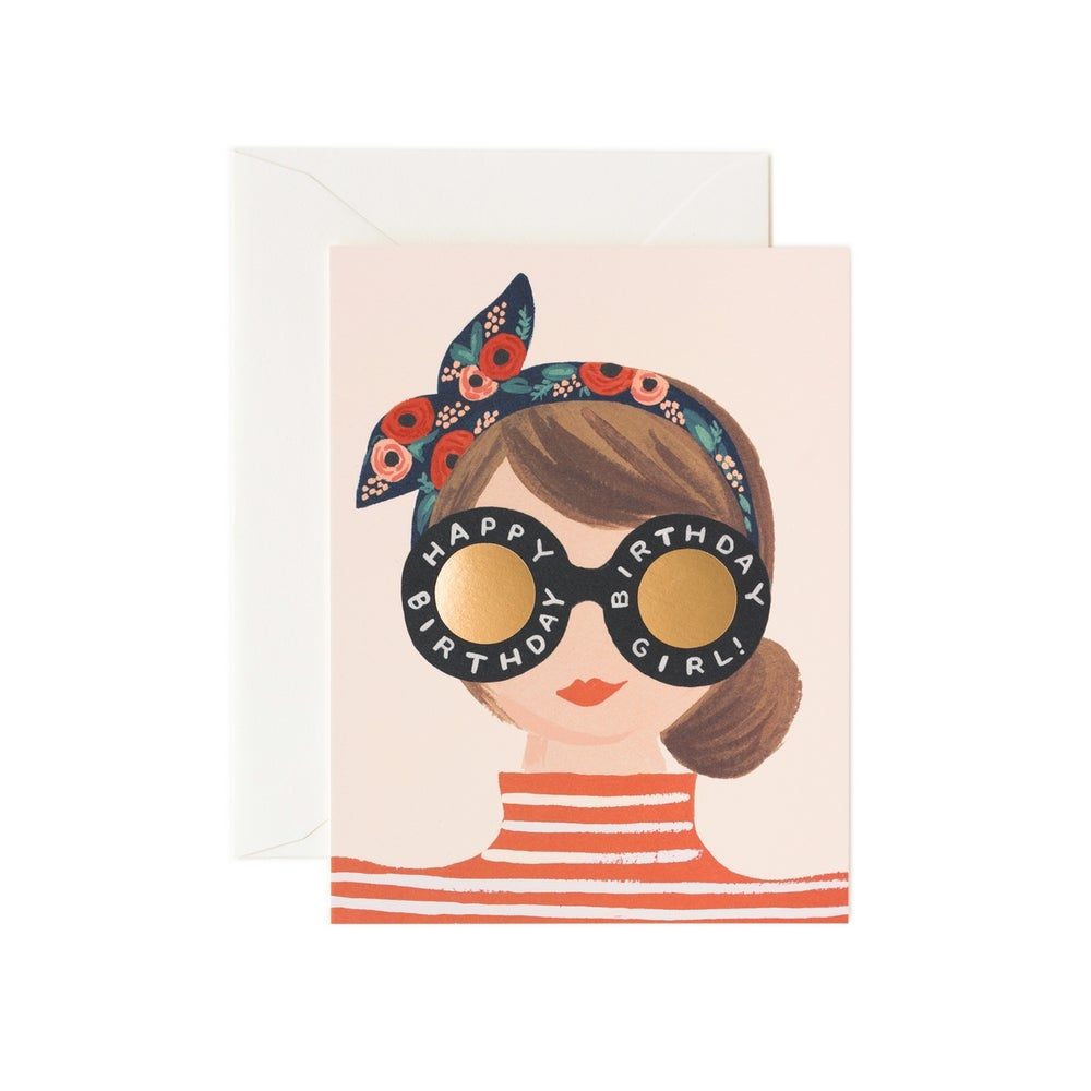 Image of CARTE DOUBLE HAPPY BIRTHDAY GIRL (TROIS MODÈLES), RIFLE PAPER CO.