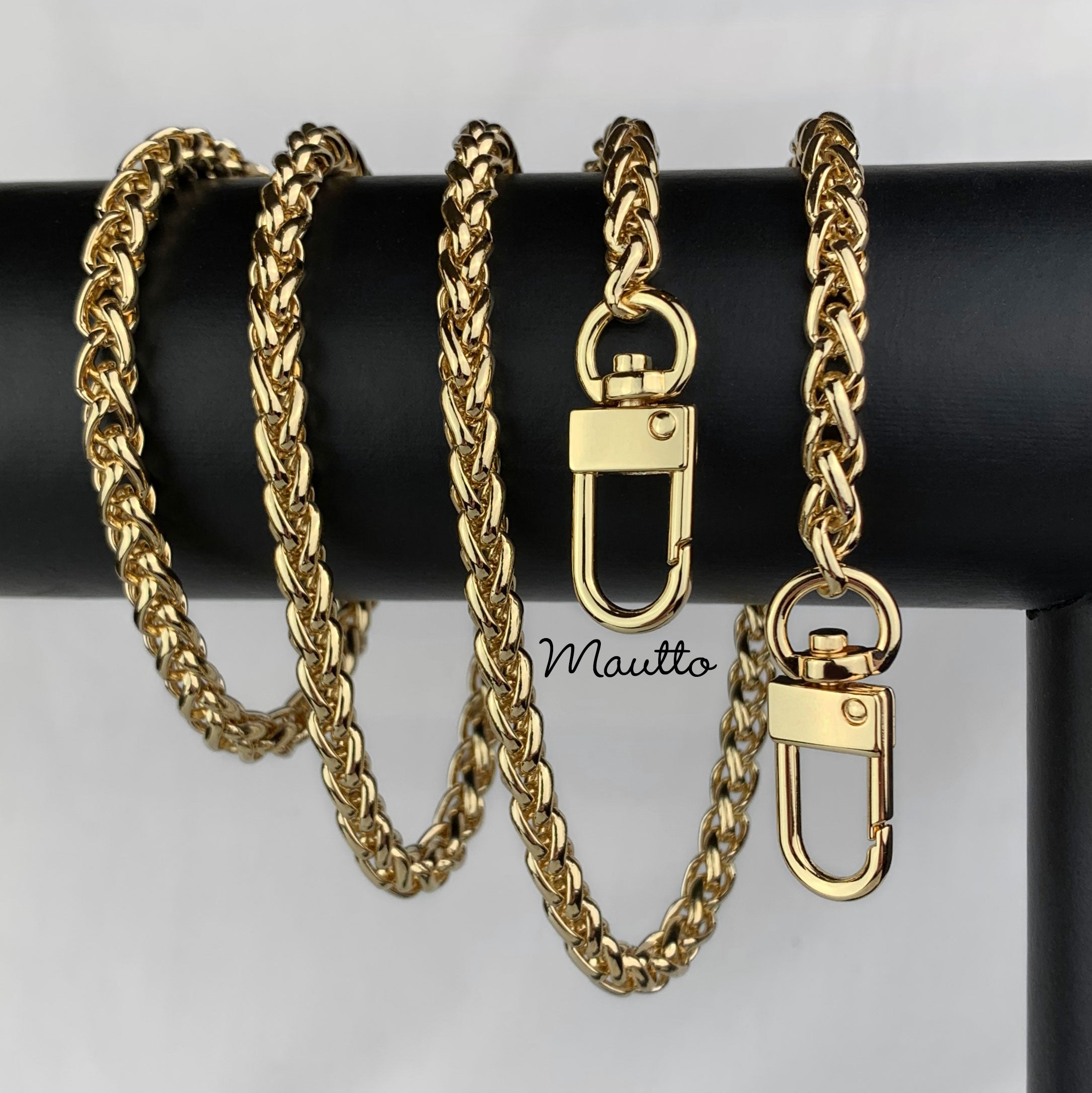 Golden Flat Chain Strap About 100cm Metal Handbag Sprocket Accessory Handle Replacement Chains