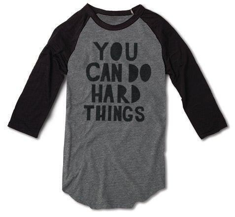 Image of You can do hard things Grey & Black Baseball tee