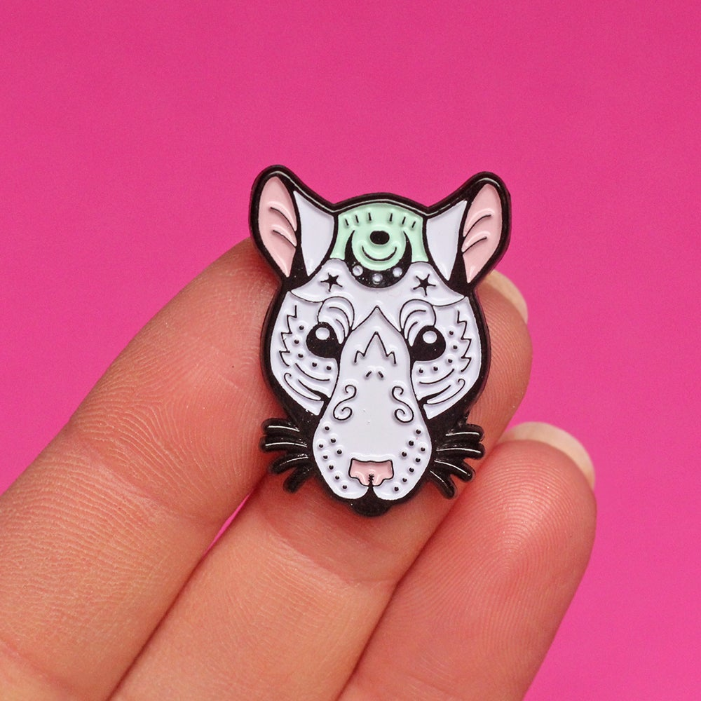 Image of Mystical rat, enamel pin - rat pin - rat gift - ratty - creepy cute - witchy - pin badge