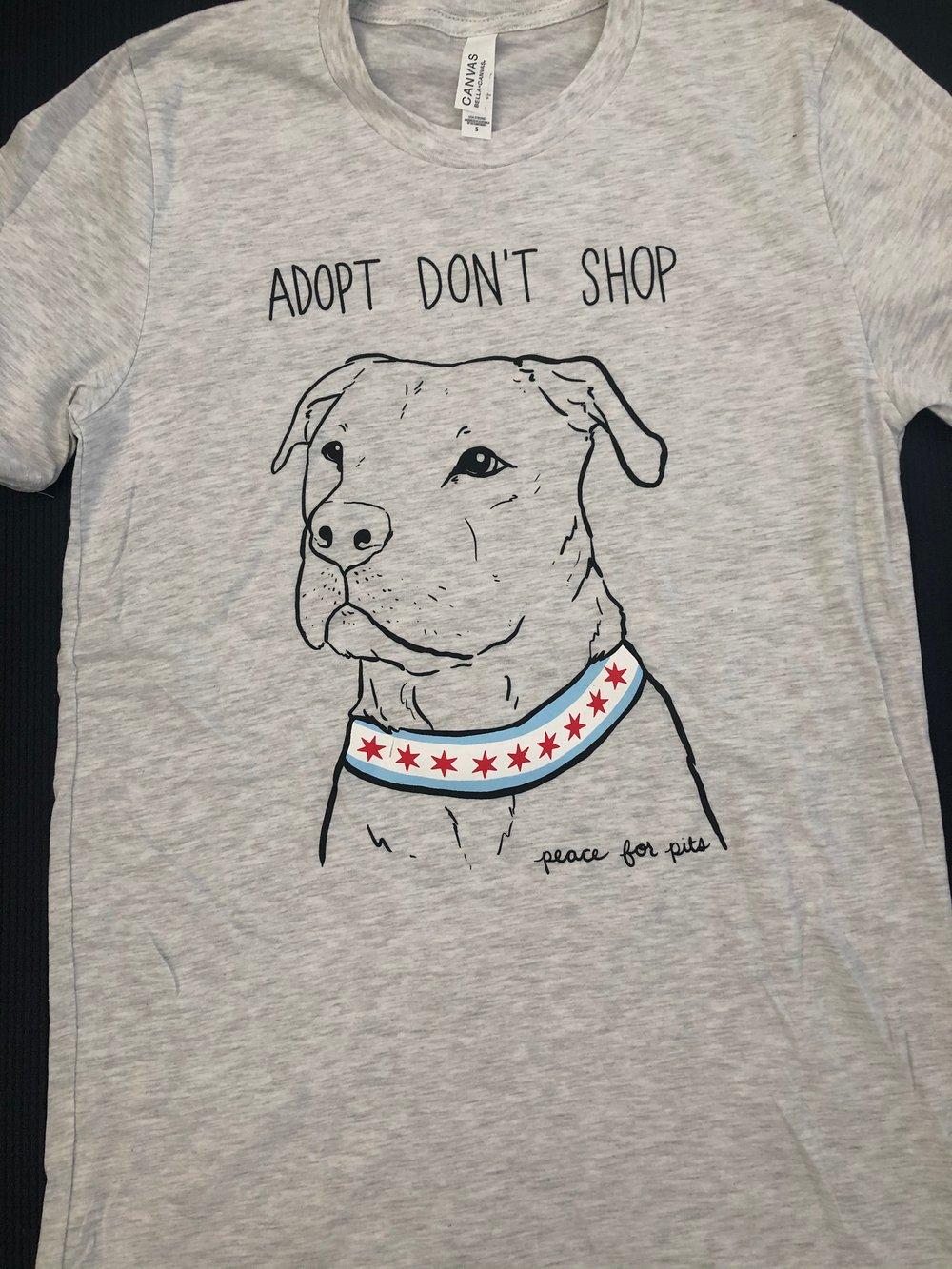 Image of Adopt Don't Shop T-shirt Heather Grey