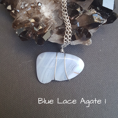 Image of Blue Lace Agate Wire-Wrapped Necklace