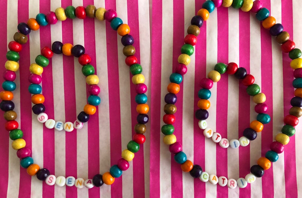 Image of Personalised rainbow bead necklace