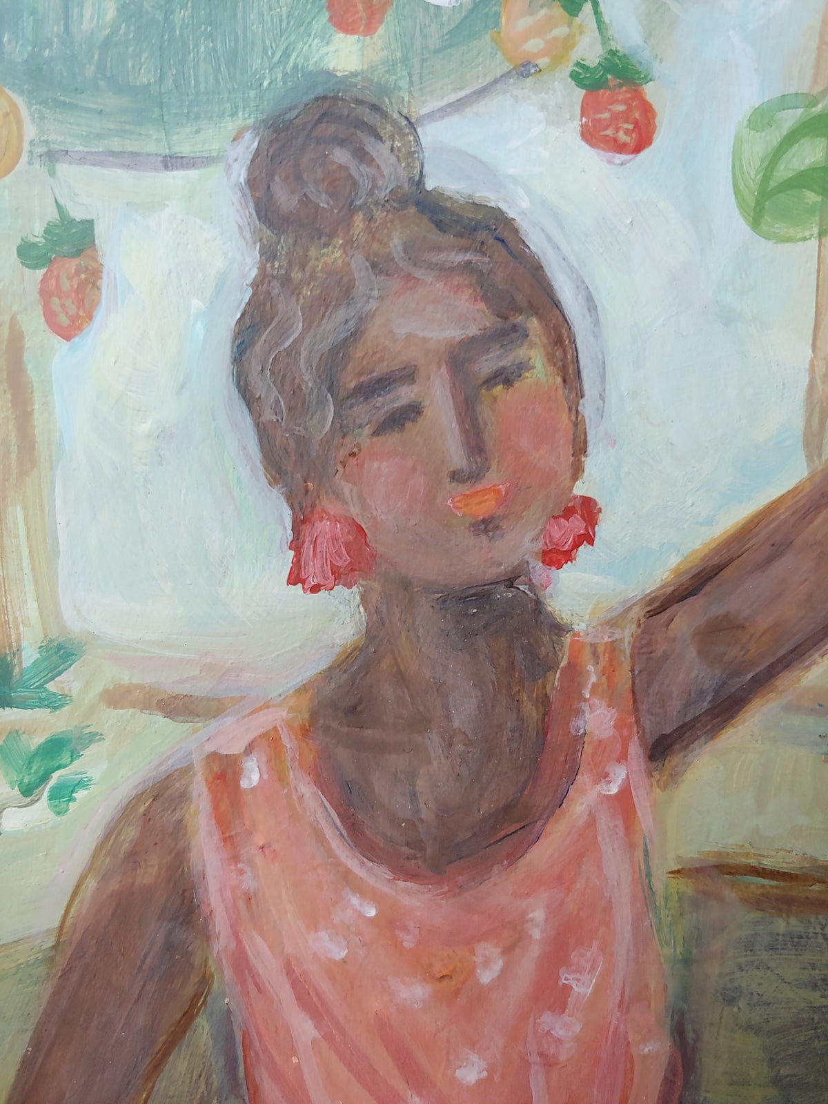 Image of Greenhouse Woman 18x24 Original on wood cradle board